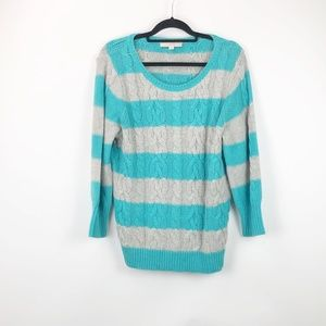 LOFT Turquoise Grey Striped Cableknit Sweater
